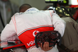 Lewis Hamilton, McLaren Mercedes with his steering wheel