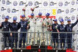 LMGT1 podium: class winners Bas Leinders, Markus Palttala and Eric de Doncker, second place Thomas Mutsch, Jonathan Hirschi and Mathias Beche, third place Cyndie Allemann, Rahel Frey and Yann Zimmer
