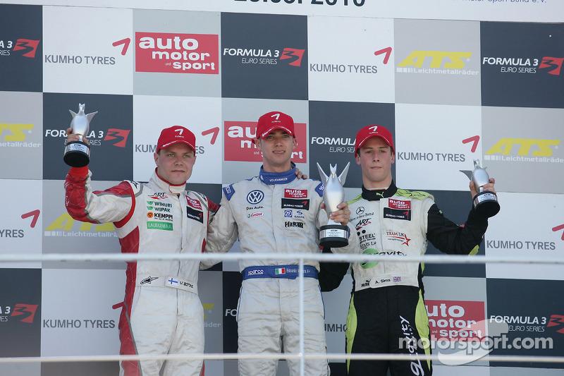 Podium 2de Valtteri Bottas, ART Grand Prix, Dallara F308 Mercedes, 1ste Edoardo Mortara, Signature,