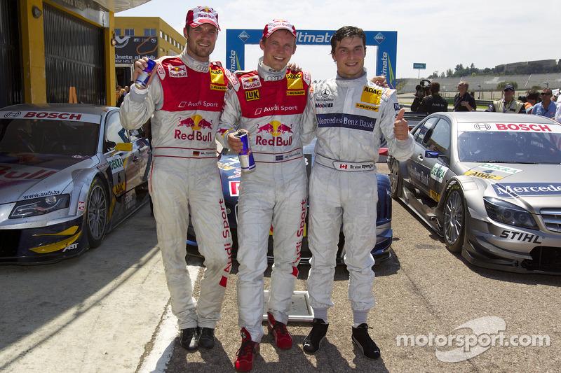 Race winnaar Mattias Ekström, Audi Sport Team Abt, 2de Martin Tomczyk, Audi Sport Team Abt, 3de Bruno Spengler, Team HWA AMG Mercedes