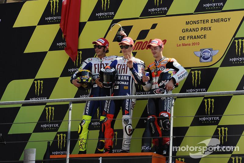 2010: 1. Jorge Lorenzo, 2. Valentino Rossi, 3. Andrea Dovizioso