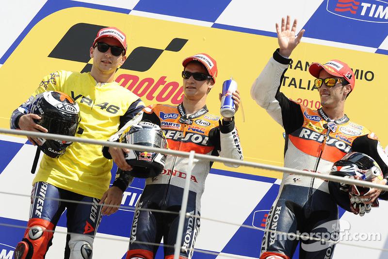 2010: 1. Dani Pedrosa, 2. Jorge Lorenzo, 3. Andrea Dovizioso