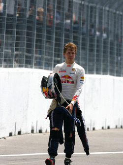 Sebastian Vettel, Red Bull Racing stops on track after the finish line
