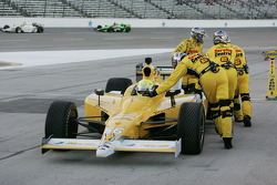 Jay Howard, Sarah Fisher Racing is pushed out of the pit lane with fuel pump problems