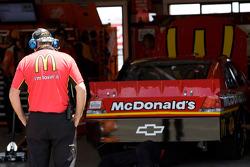 A crew member looks over the No. 1 McDonald's car