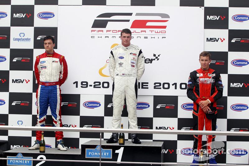 Podium: winnaar Dean Stoneman, 2de Jolyon Palmer, 3de Kazim Vasiliauskas