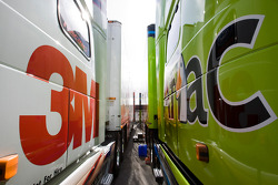 The 3M and Aflac hauler sits side by side in the garage
