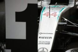 The Mercedes AMG F1 W07 Hybrid of race winner Lewis Hamilton, Mercedes AMG F1 in parc ferme