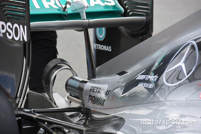 Détails de l'arrière de la Mercedes AMG F1 W07
