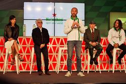 Stephanie Sigman, Schauspielerin; Bernie Ecclestone; Gianluca di Tondo, Marketingchef Heineken; Jackie Stewart; Charles Puyol, Ex-Fußballspieler