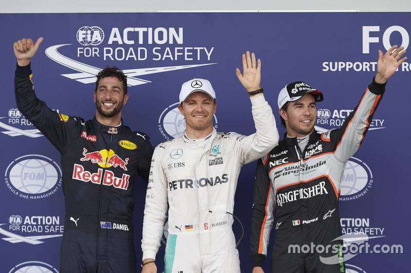 Polesitter Nico Rosberg, 2. Sergio Perez (Startplatzstrafe), 3. Daniel Ricciardo