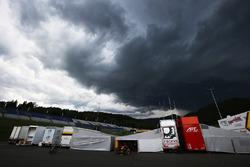 Cielo oscuro sobre el paddock GP2