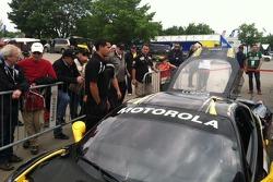 AGM Engineer Travis Low supervises the adjustments to John Farano's Sunday Race Car