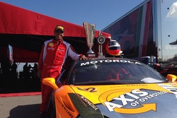 Post Victory Pose for Carlos Gomez of the Auto Gallery Motorsports Ferrari Challenge Team