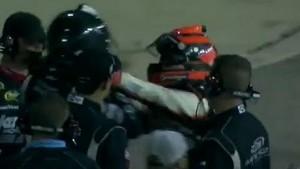 Nelson Piquet Jr. kicks Brian Scott in the balls!! NASCAR Fight!