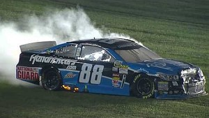 NASCAR Chase contender Dale Earnhardt Jr. in flames | Chicagoland (2013)