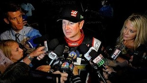 Kurt Busch reacts to engine failure