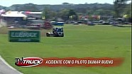 Diumar Bueno has a vicious crash during practice for the Brazilian Formula Truck Series in Guaporé