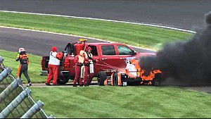 Simona De Silvestro car burns during Indy 500 practice