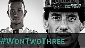 Hamilton festeja ter igualado o ídolo Senna