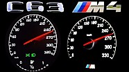 BMW M4 vs Mercedes C63 AMG W205 Acceleration 0-250 Onboard V8 Sound Autobahn Revs Comparison F82