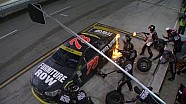 Truex Jr.'s car catches on fire during pit stop