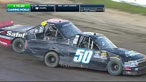Abreu and Kvapil get tangled during Eldora qualifying race