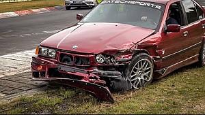 BMW quase atropela homem em Nurburgring