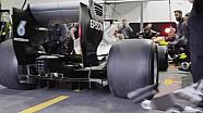 Le premier arrêt de Mercedes avec les pneus 2017