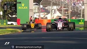3 pilotun yan yana gelişi ve Alonso'nun yarışı bırakışı