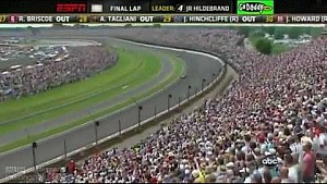 Авария Джей-Ар Хильдебранда в последнем повороте Indy 500