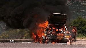 Akropolis-Rallye: Auto brennt aus