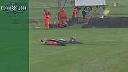 Motorcycle fall during wet Barry Sheene trophy