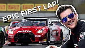 12 overtakes on the opening lap! GT-R beast mode at Barcelona!