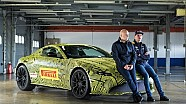 Max Verstappen with the new Aston Martin Vantage