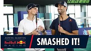 Daniel Ricciardo et Max Verstappen jouent au badminton
