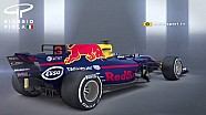 Compatração do sidepod da Red Bull - RB13 to RB14